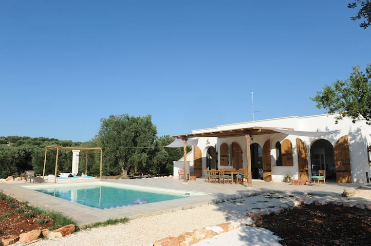 pool and villa from the side