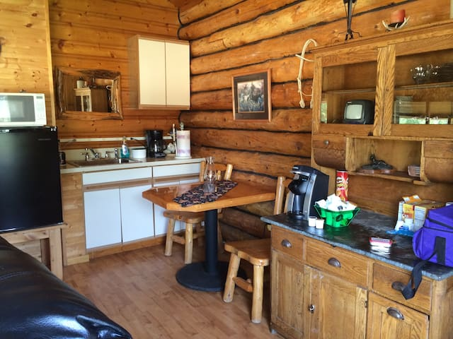The cabin has a kitchenette with a microwave, fridge, coffee maker, and table.