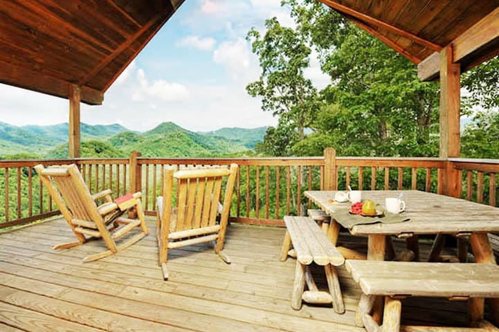 Enjoy long range mountain views from your back covered deck. Perfect for morning coffee or al fresco dining!