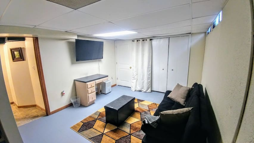 basement family room with full size futon