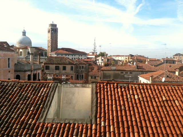This is the view over the venetian rooftops and Palazzo Labia.