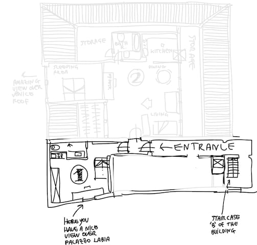 This is a plan of the studio. You can see that shares with the other unit only the entrance door.