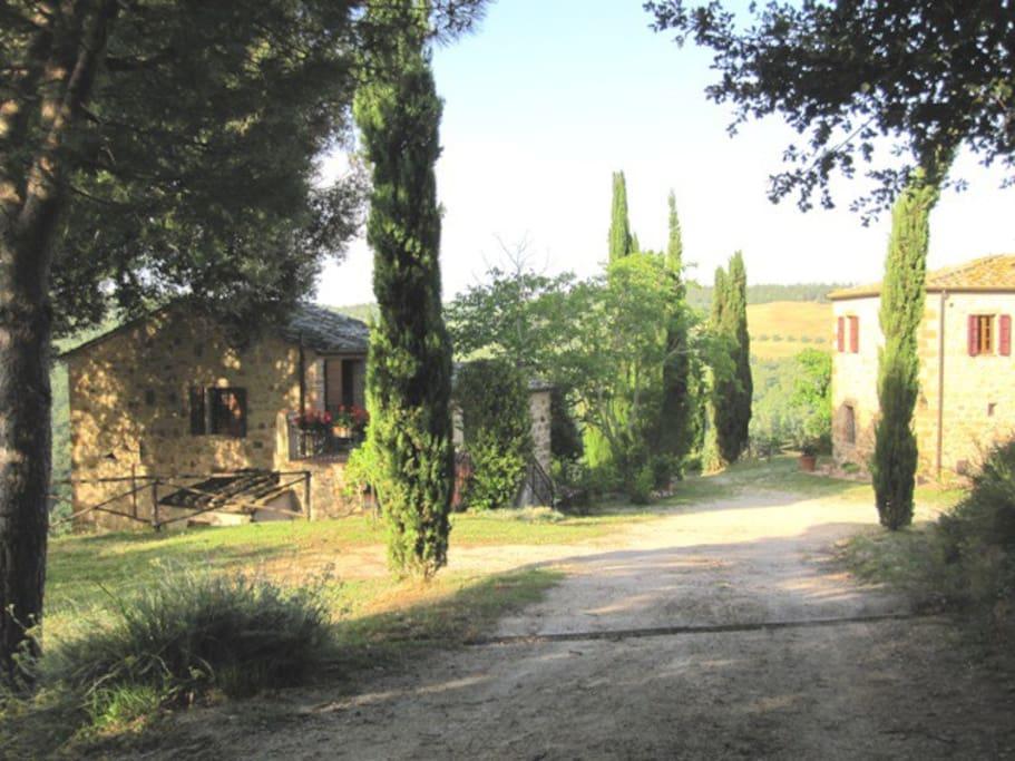 Arriving at the farm. Villa Mulinello, left