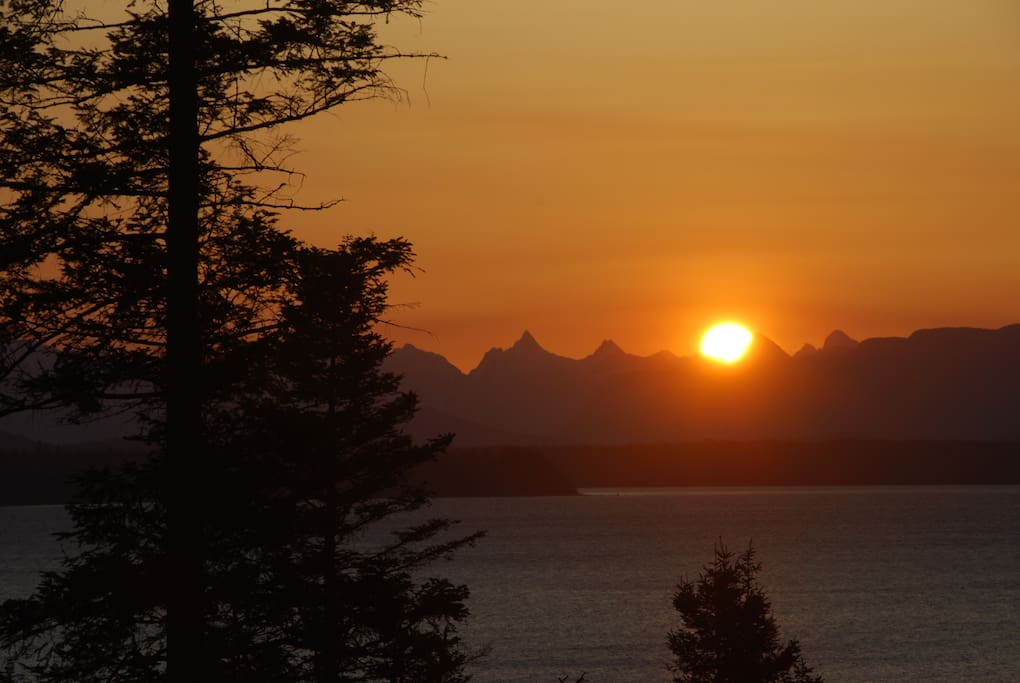 Sunrise over Coast Mountains from cottage