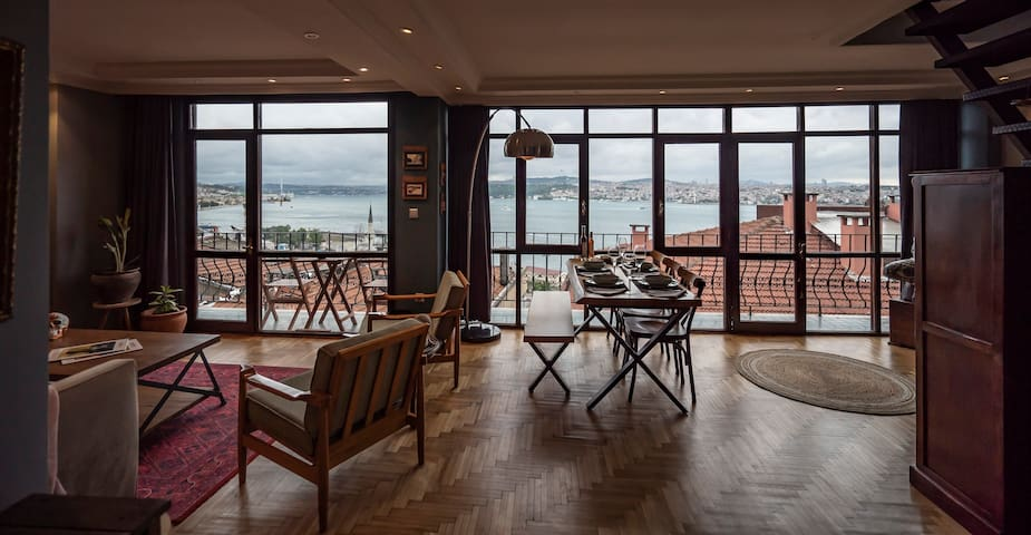 Our living room has an amazing Bosphorus view.