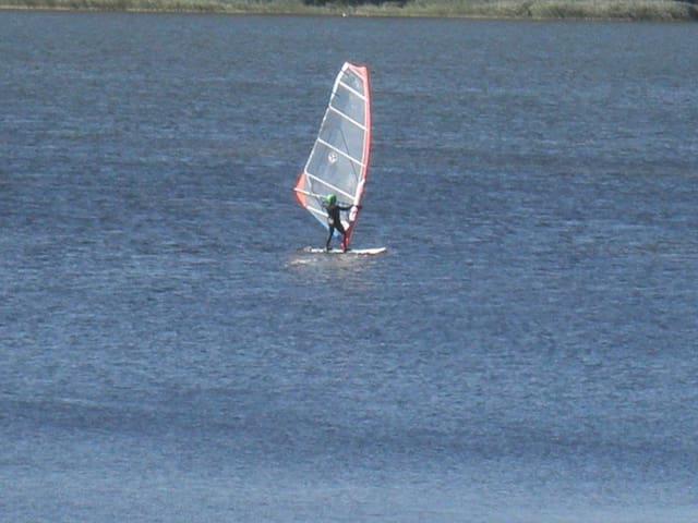 Wind surfing on the Veluwe lake