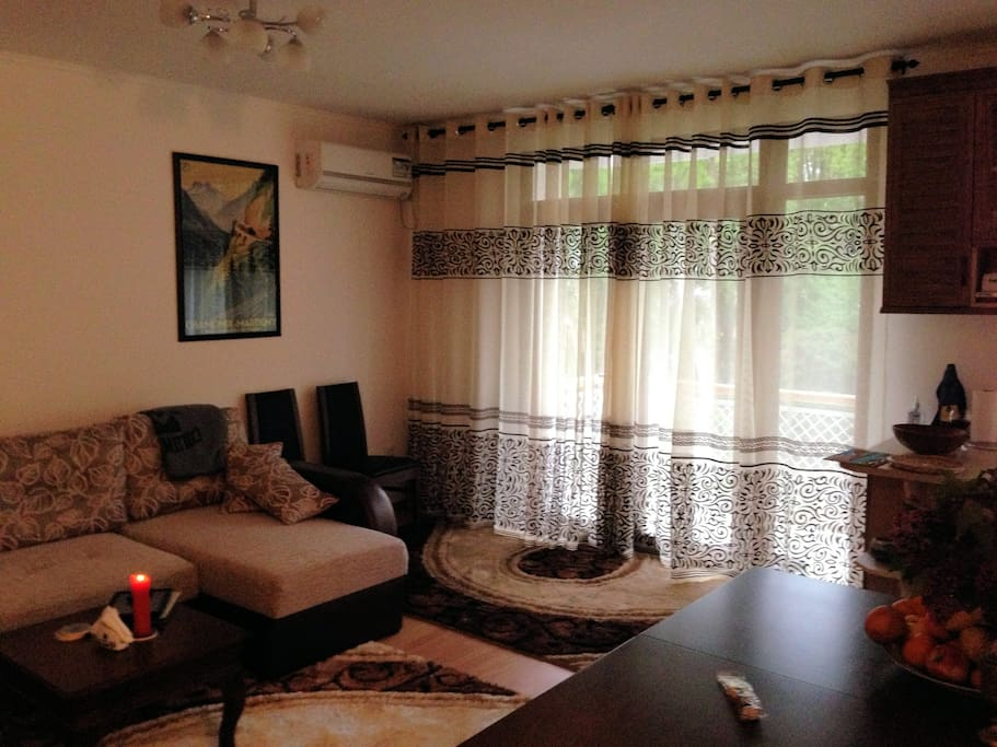 Living room with closed balcony doors provide ideal privacy and comfort.