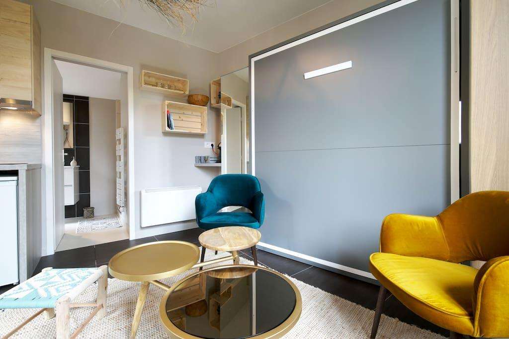 Votre chambre devient un salon confortable et spacieux