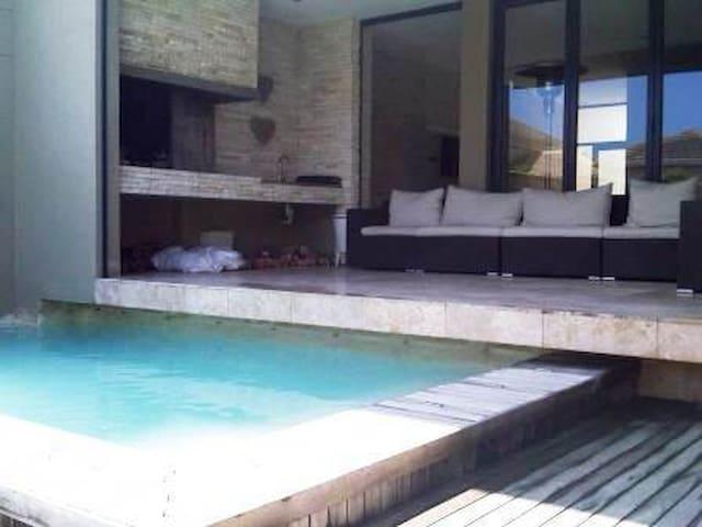 Outdoor braai and pool