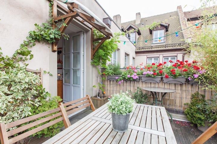 Chambre calme au centre de Strasbourg + terrasse !
