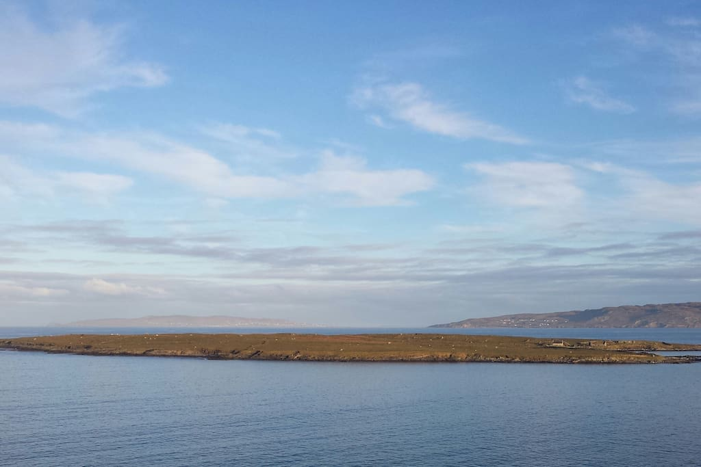 Stunning view of Inishkeel island from the front of the Cottage.