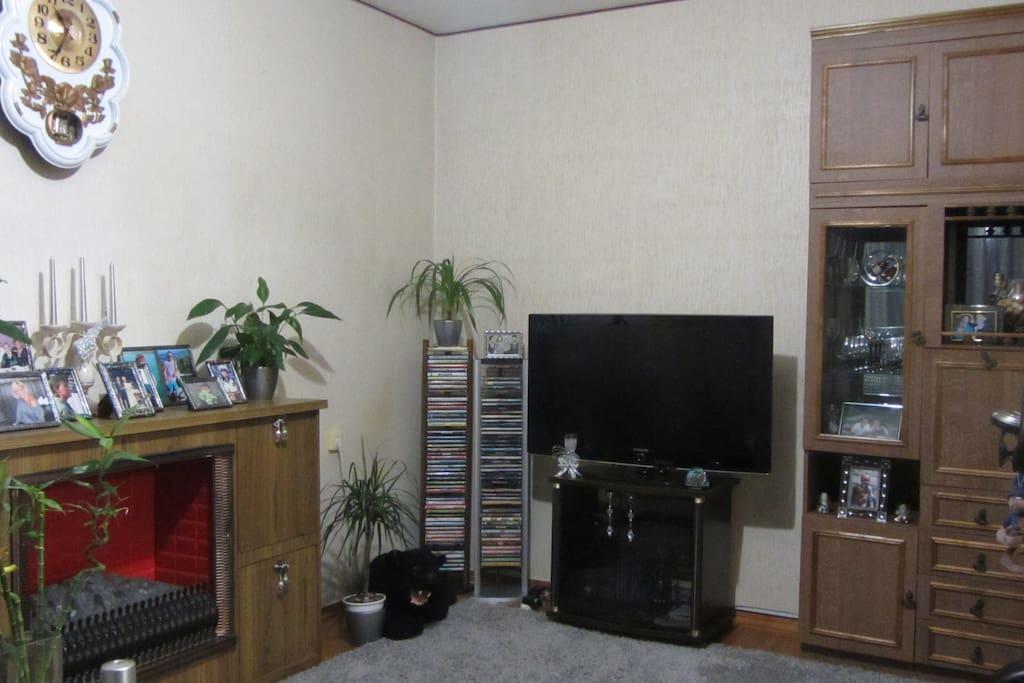 Комната 1. Зал. Телевизор 42'', спутниковое телевидение, wi-fi