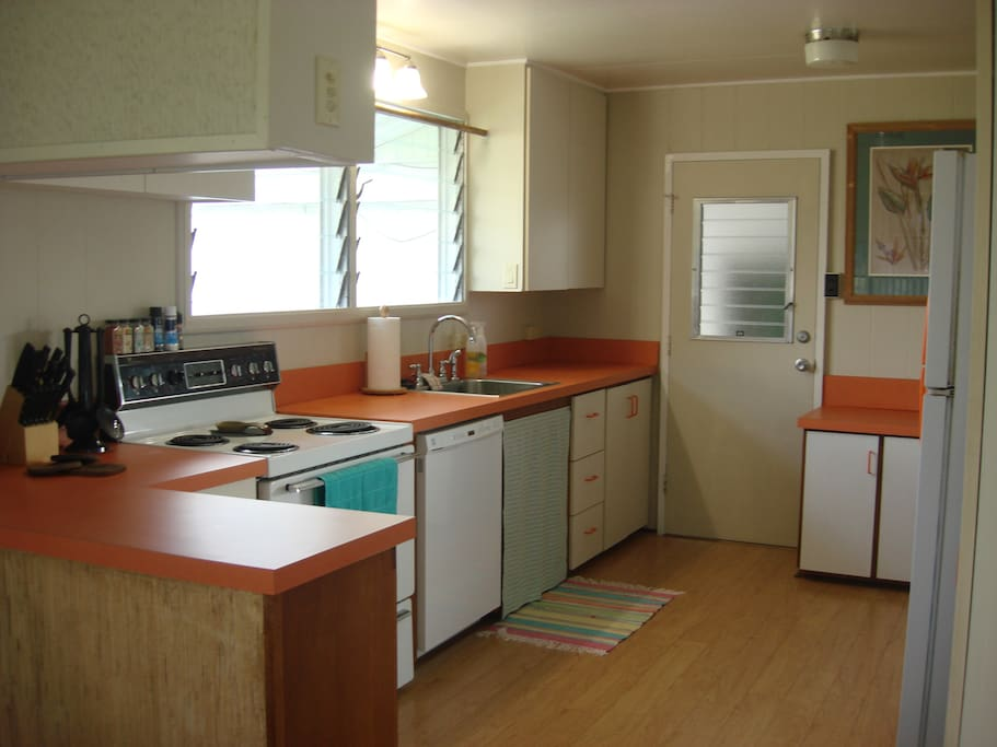 The full kitchen is equipped with oven, stove, dishwasher, microwave and full refrigerator.