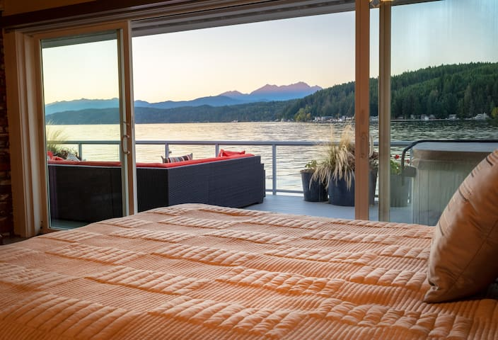 Walls of Glass Hood Canal Vacation Rental: Master bedroom view