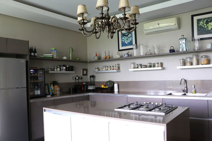 Kitchen with AC and daily chef at your disposal
