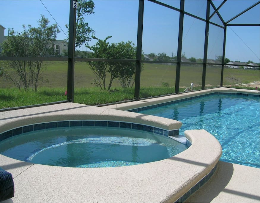 Private west-facing pool and spa. Sunshine all day and not overlooked at the rear