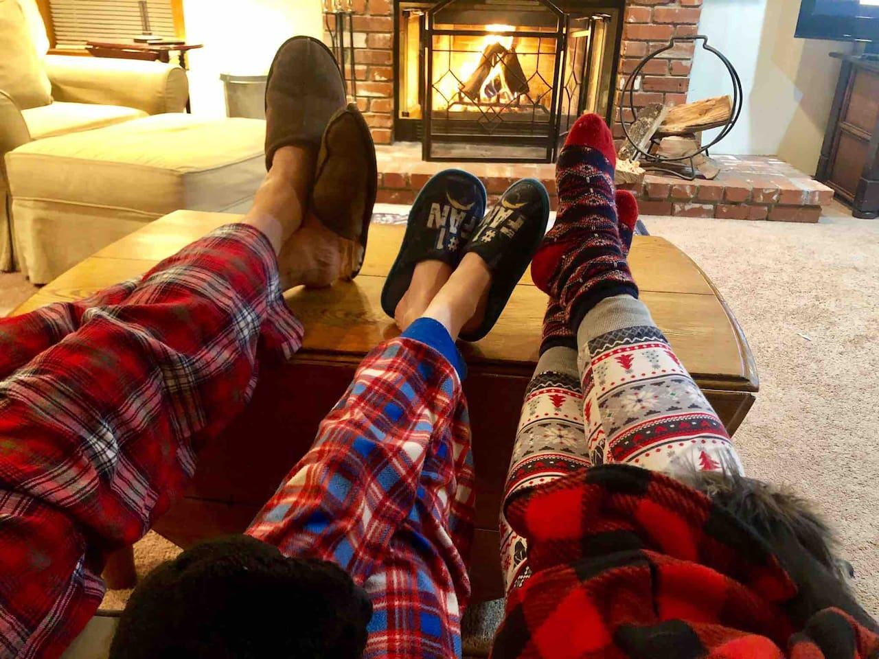 Toast your toes by the gas start wood burning fireplace after a day of hiking, zip lining, or skiing.