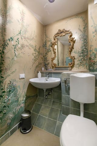 The second bathroom on the 1st floor has frescos too