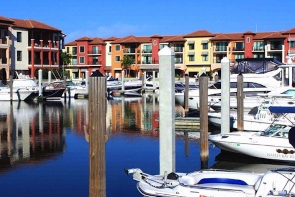 Naples Bay Resort Marina with boat and kayak rentals.