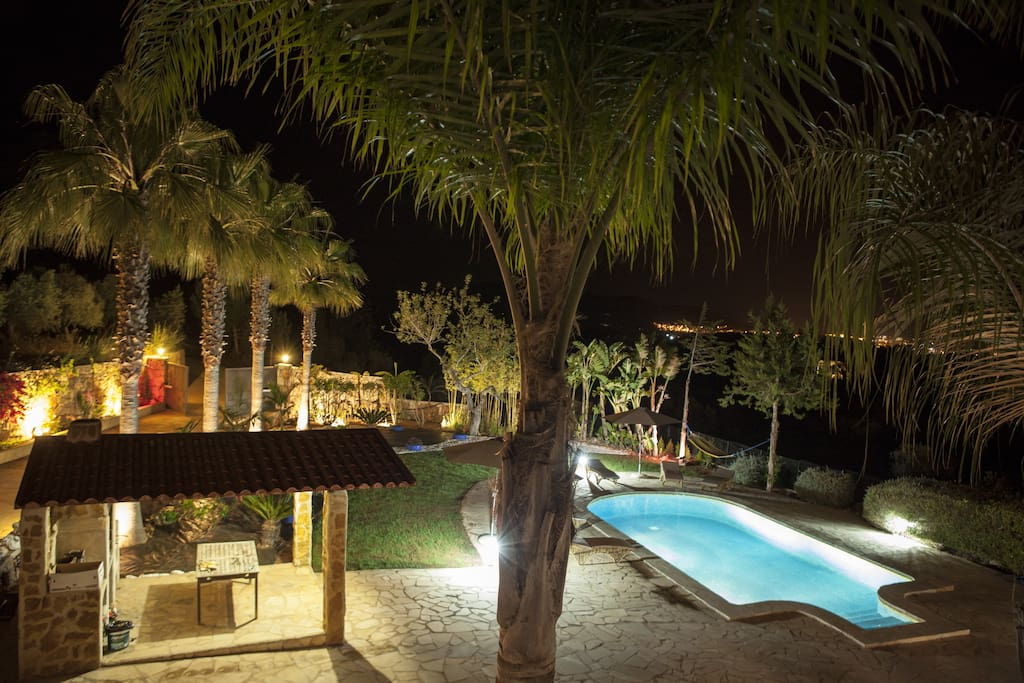 The pool/garden at night