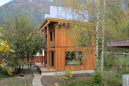 Wohnen mit Holz, Stein, Glas und Lehm