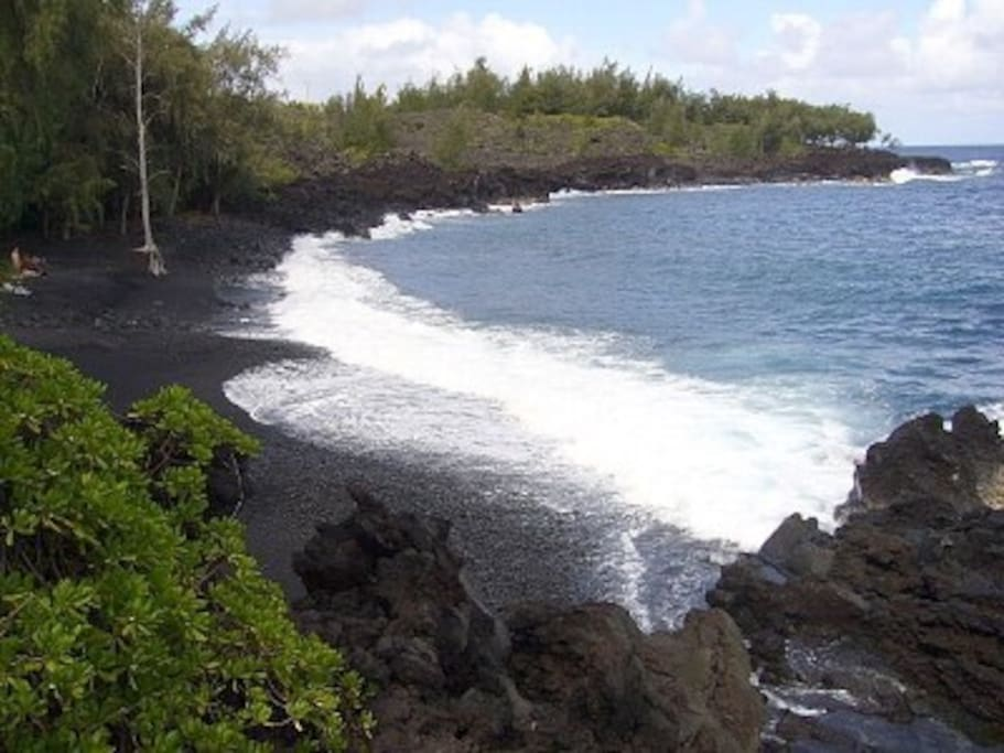Kehena Black sand beach is just a walk away. Whales and dolphins come in during winter months!