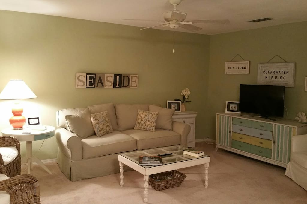 Nice size living room with Queen sofa bed and 42 inch TV
