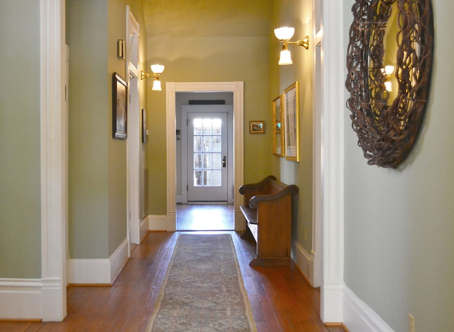Entry hallway to Uphouse Manor.  First and second story rooms are all off of center hallways.