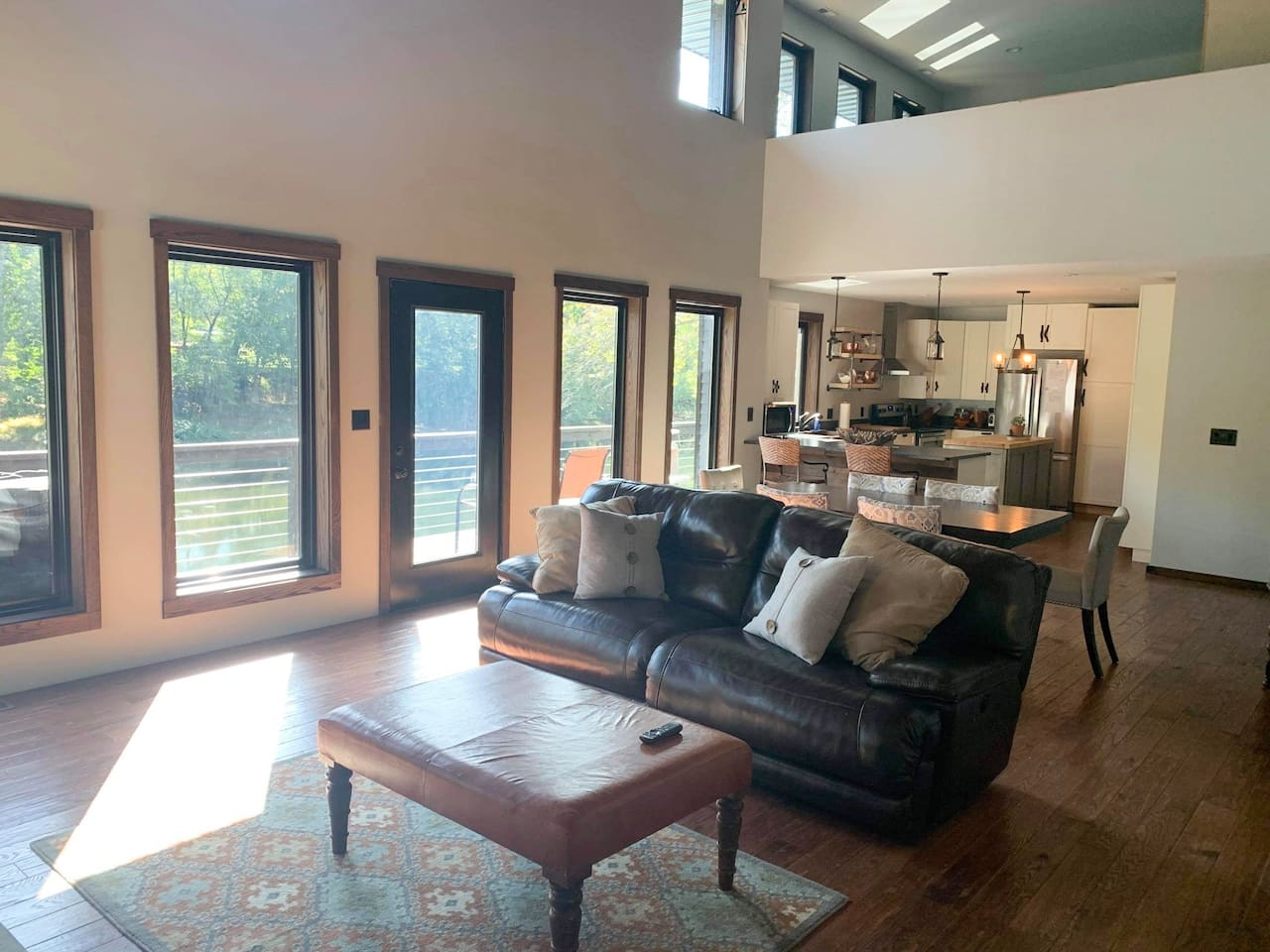 Wide open floor plan with huge windows for spectacular views of the river.
