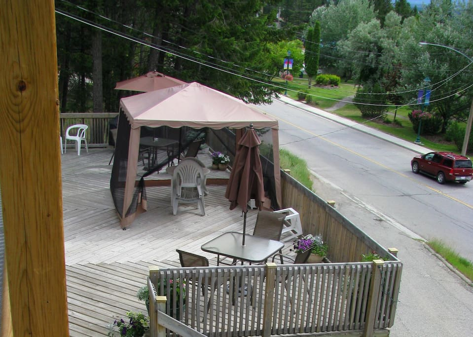 Our deck is on the same level as your room