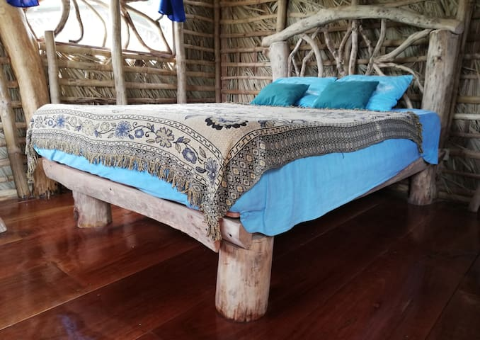 The design is hand made and the used bamboo and wood is from Ometepe island