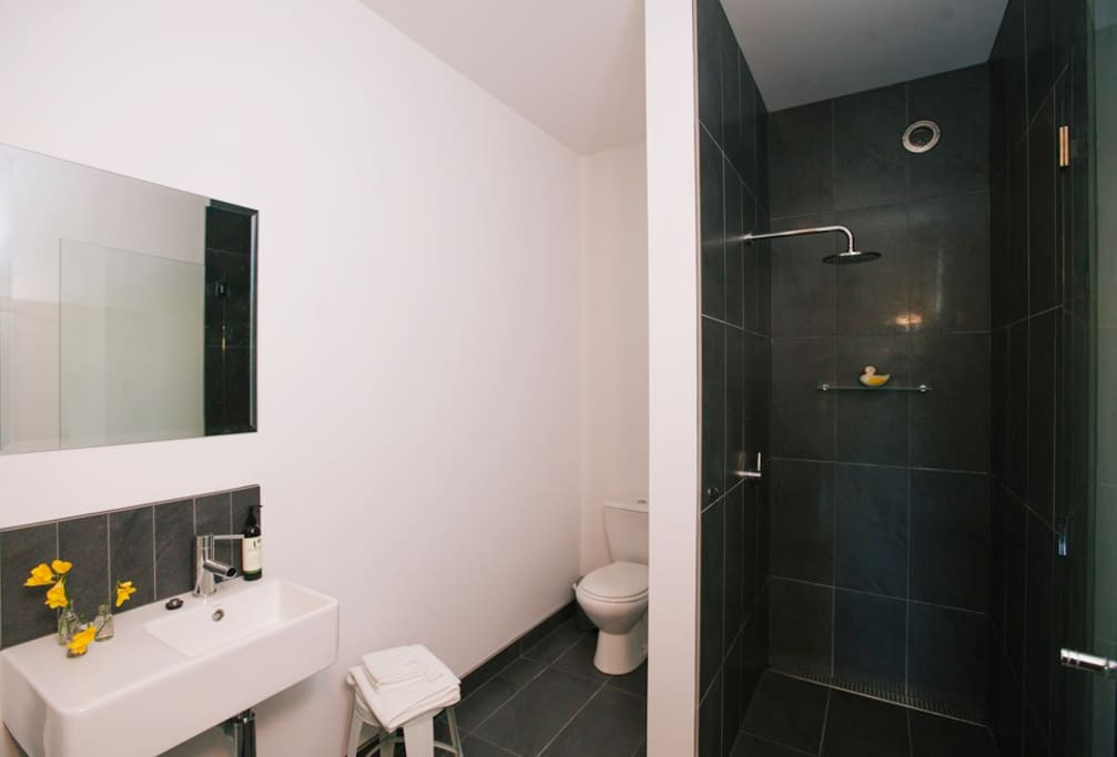 Brand new, modern, spacious bathroom with quality towels.