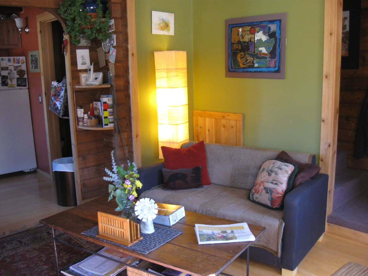 The livingroom, kitchen and half bathroom are all on the ground floor.  In the heart of downtown Crested Butte but you may find yourself so happy you don't leave the house!