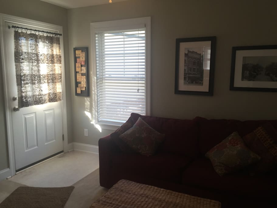 Comfortable living area, couch makes into a queen size sleeper sofa with new, very comfortable mattress!