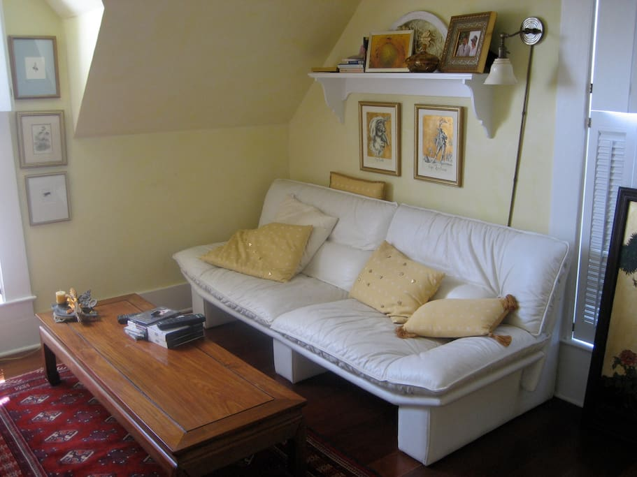 Sofa, coffee table in bedroom