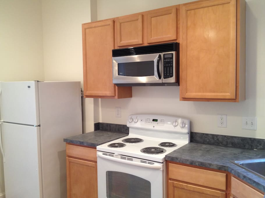 Large eat-in kitchen with full sized frig, electric stove, microwave oven, dishwasher and plenty of counter space.