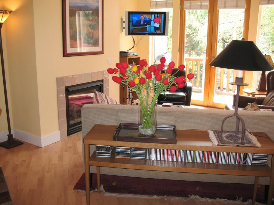 South facing, sunny living room has direct access to deck and has an instant-on gas fireplace.