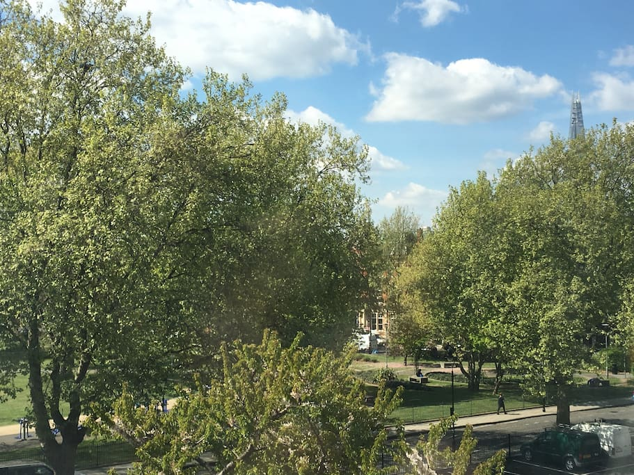 View from the bedroom overlooking the park