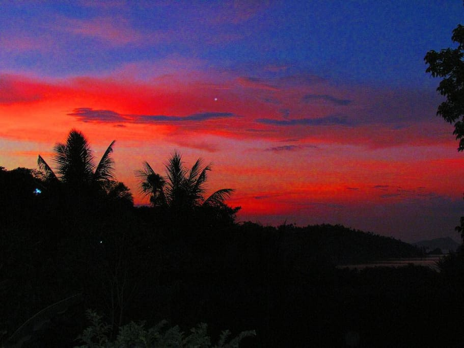 This was an especially fiery sunset, but we enjoy beautiful sunsets from our terrace nearly every night.