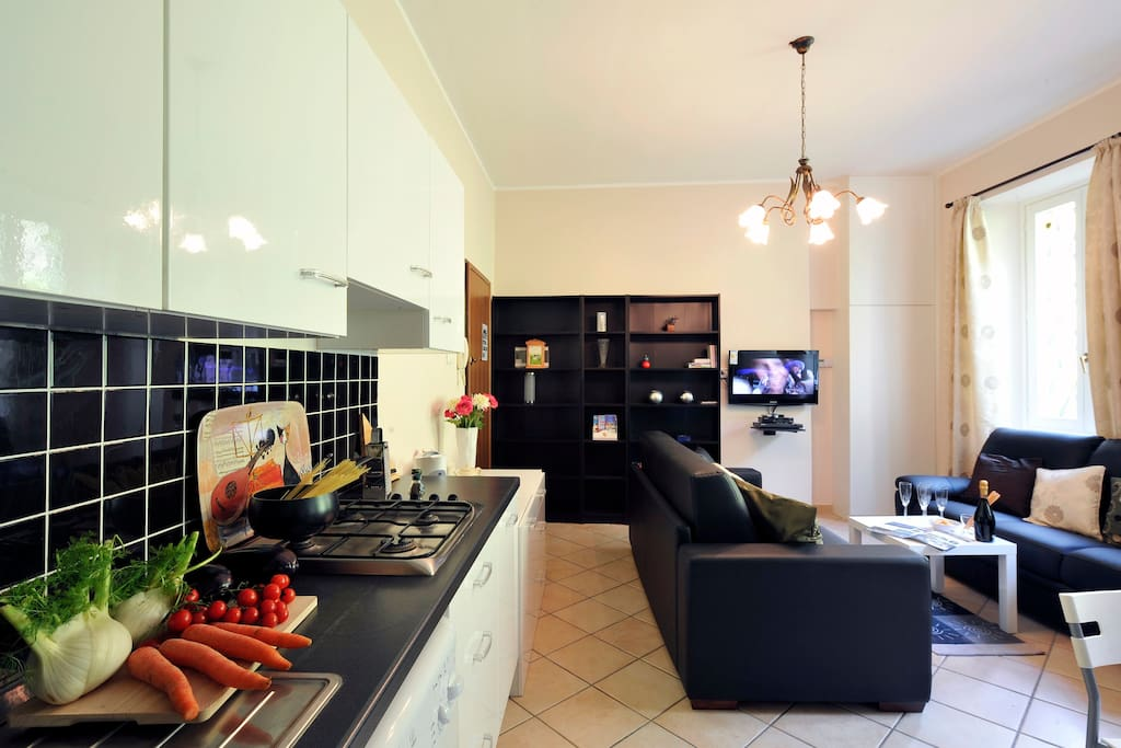 Open plan living room and open kitchen