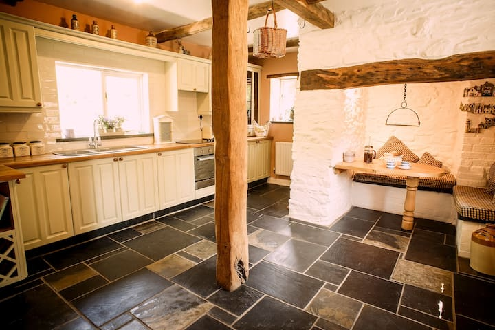 Fully fitted kitchen with huge 'inglenook' big enough to sit/eat in