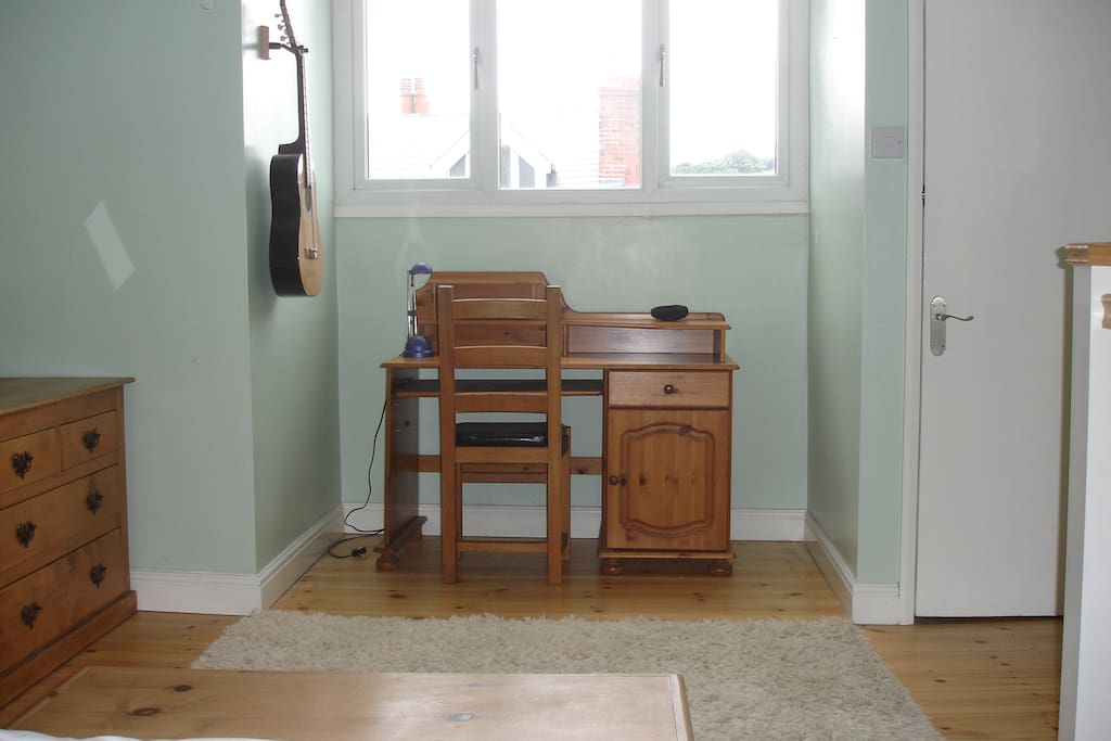 The desk end of the attic room