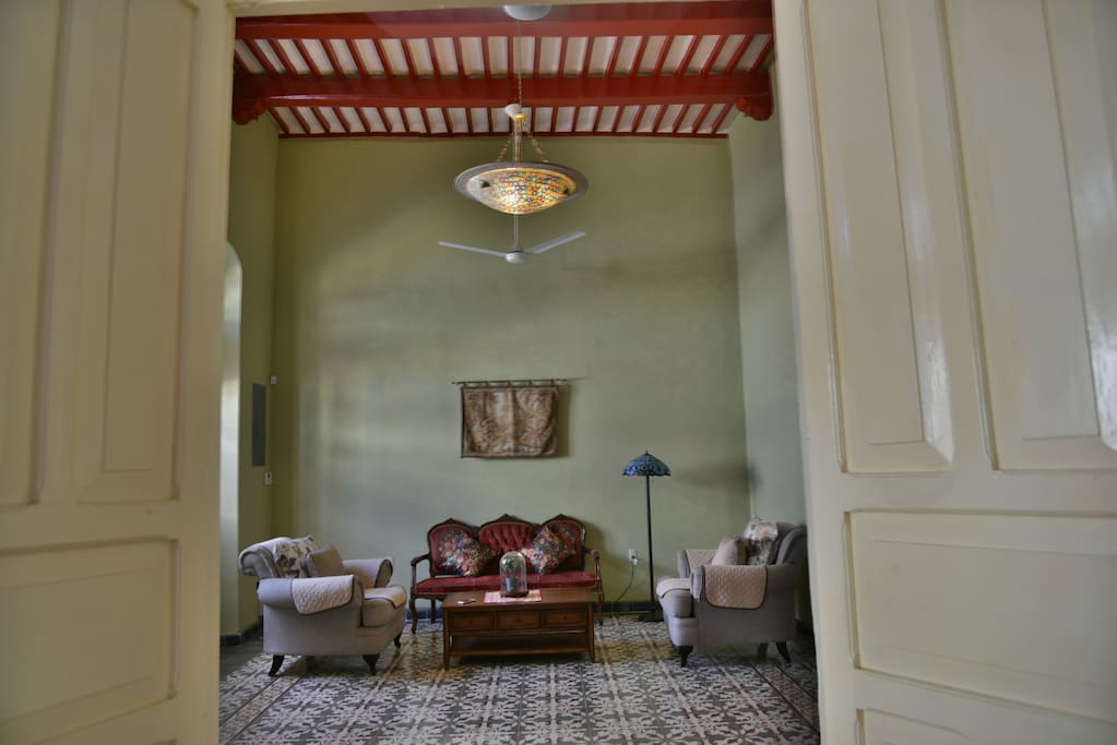 Living room with high ceiling and original s XVII colonial house  Original floor