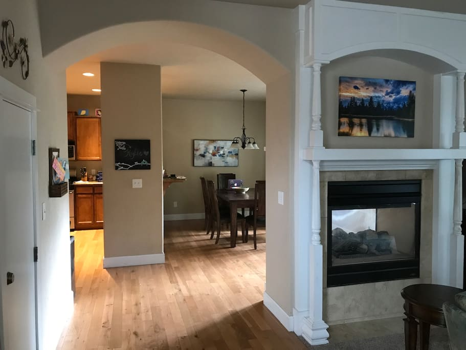 View of the kitchen and dining room from the living room.