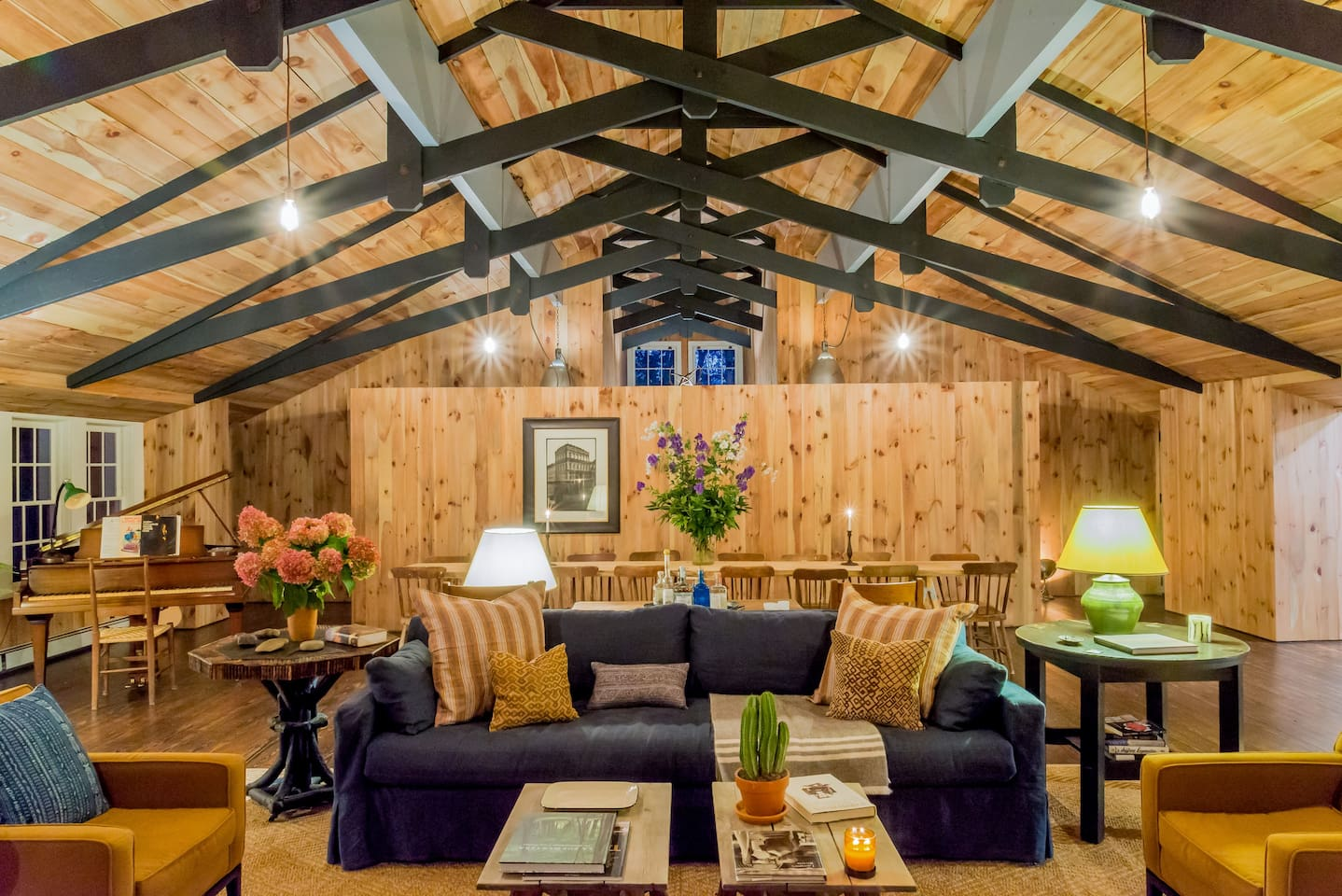 Bonner Lodge's Great Room -- wide open living space with warm Adirondack furnishings and a dash of modern