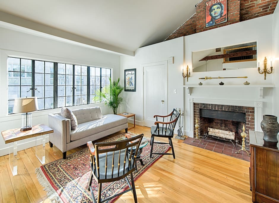 Beautiful living room with view of Harvard Law School