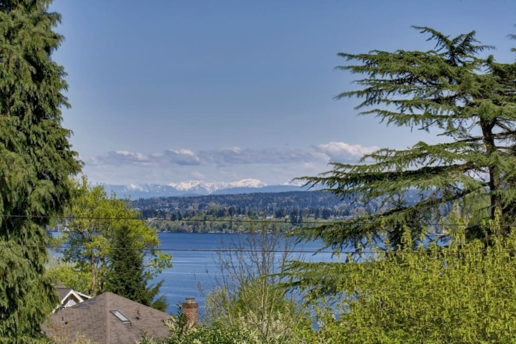 View from your bedroom - Lake Washington and the snow capped Cascade mountains beyond