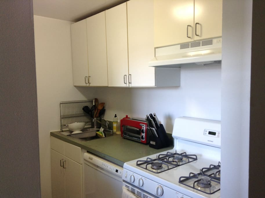 Kitchen with coffee maker, toaster, and all appliances you'll need to cook a delicious meal