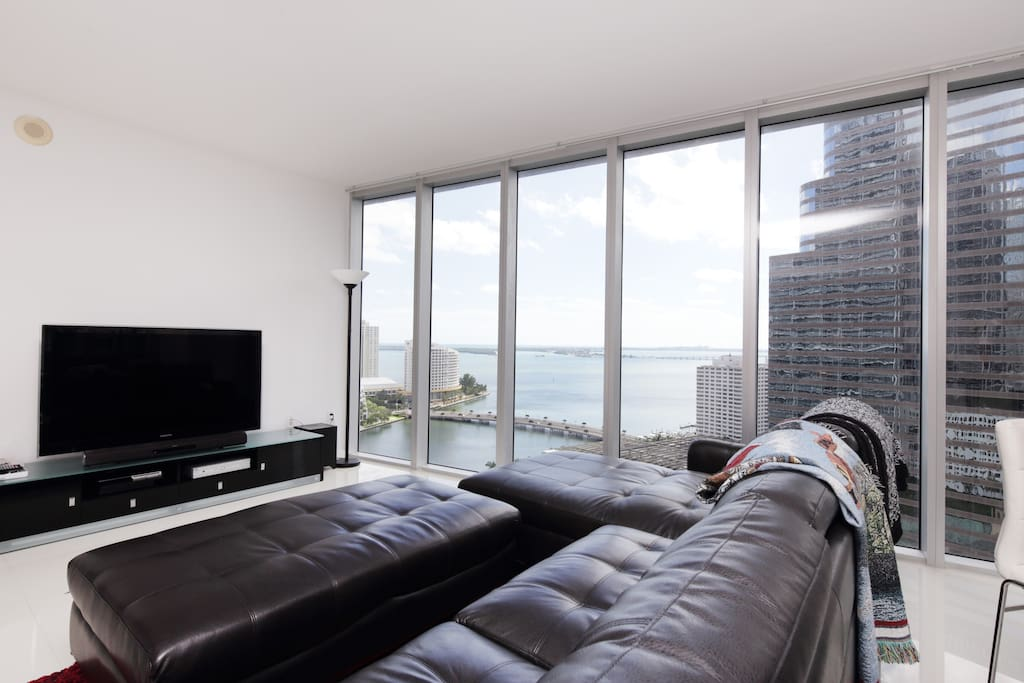 Living Room with Ocean View + Up/Down View of Brickell Avenue