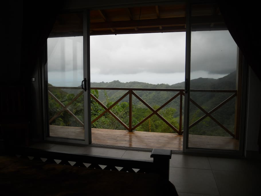 mountain and ocean views as seen from bedroom on second floor.